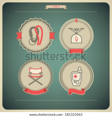 4 vector icons related to ships, boats and other objects/symbols in relation to boat swimming: Locking carabiner, Camping stove, Folding chair, GPS mobile positioning.  - stock vector