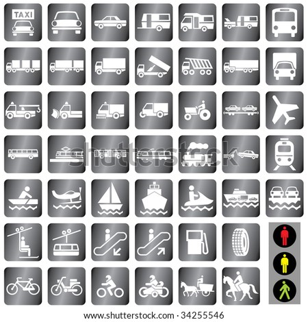 """48 vector icons set at the """"one transport"""" theme - stock vector"""