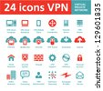 24 Vector Icons VPN (Virtual Private Network) - stock photo