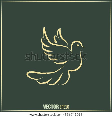 Vector illustration Flying dove for peace concept and wedding d