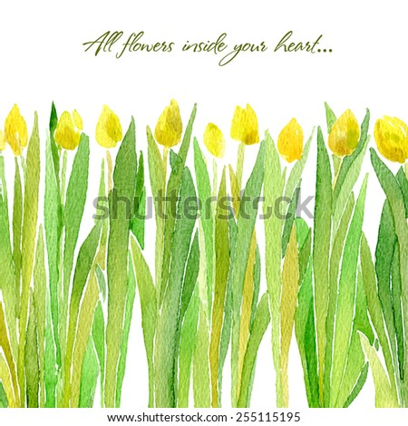 Vector illustration for Woman's Day and different holidays. Cute summer and spring card. Floral pattern with watercolor flowers on the white background. Isolated tulips - stock vector