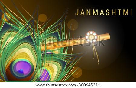 Vector Illustration Happy Janmasthami background. - stock vector
