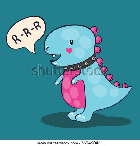 vector illustration of a blue dinosaur with pink belly - stock vector