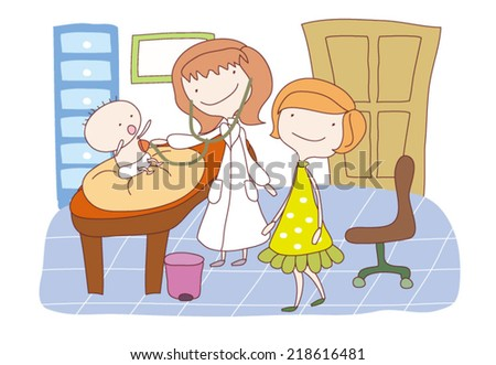Vector illustration of a doctor examining a baby in hospital - stock vector
