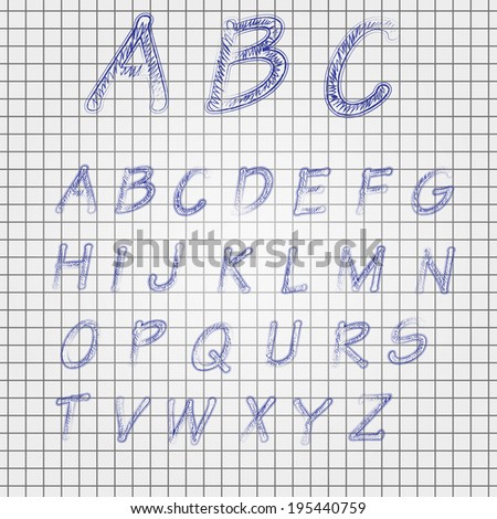 vector illustration of a pencil sketched font