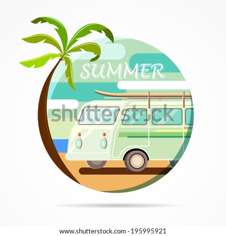 Vector illustration of a retro car on a background of palm trees