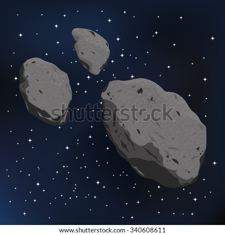 vector illustration of an asteroid and meteorite. Falling Meteorite with asteroid icon illustration - stock vector