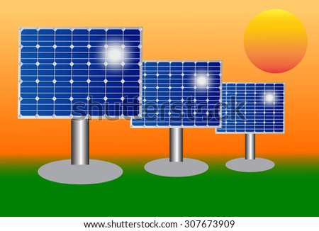 vector illustration of blue silicon  electric solar panel  - stock vector