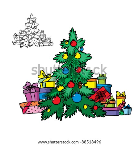 Vector Illustration Of Christmas Tree With Garlands And Gifts In Color Outline Isolated On