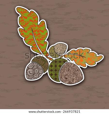 Vector illustration of colorful acorns. Pop-art  Image for design. - stock vector