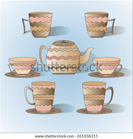 Vector illustration of cups with teapot and shadow - stock vector