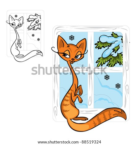 Vector Illustration of cute red cat  in color and outline; on background. - stock vector