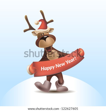 2016 Vector Illustration of Deer with Congratulation - stock vector