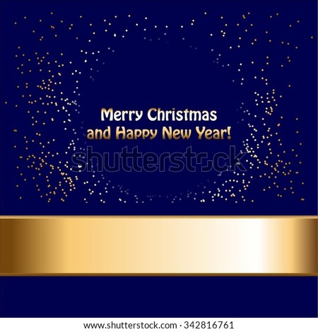 Vector illustration of Gold ribbon and glitter on a blue background. - stock vector