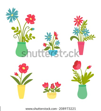 Vector illustration of isolated set of flowers in vases on white