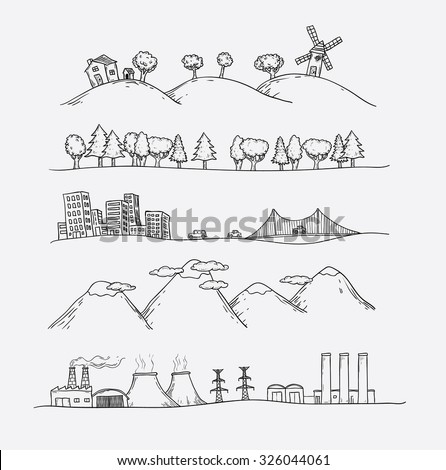 Vector illustration of  landscapes. Doodles hand-drawn style. - stock vector
