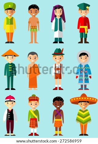 Vector illustration of multicultural national children, people in  traditional costumes Set of international man, boys dressed in national clothes - stock vector