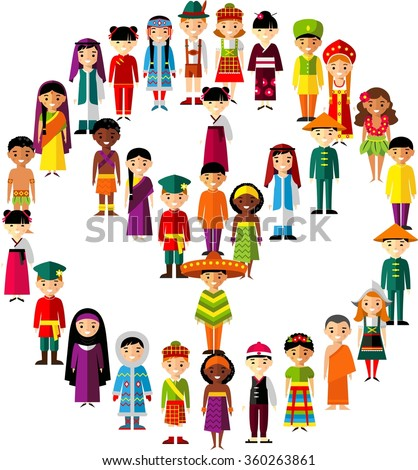 Vector illustration of multicultural national children, people on planet earth Set of international people in traditional costumes around the world - stock vector