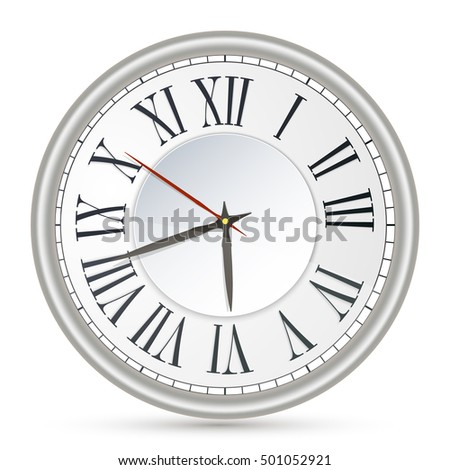 Vector illustration of old-fashioned clock with Roman numerals. Vector icon. Illustration on whight background