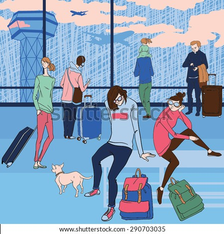 vector illustration of people at the airport in cartoon style - stock vector