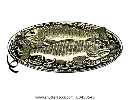 Vector illustration of roasted fish in vintage engraved style - stock vector
