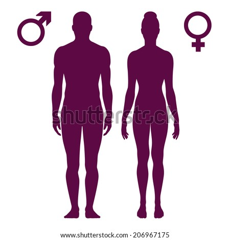Vector illustration of standing silhouettes of man and woman, female and male signs isolated on white background - stock vector