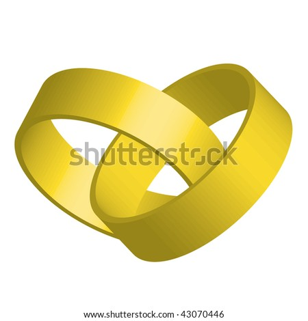 Vector illustration of two golden entwined rings