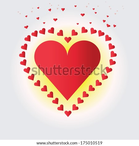 Vector illustration of valentine's hearts with a nice background - stock vector