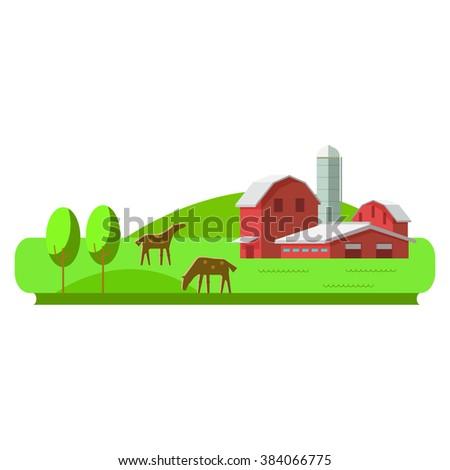 Vector illustration rural landscape. Rural landscape with hill, farm, animals. Rural life. Rural lifestyle. Rural landscape with rural buildings, farm, valley - stock vector
