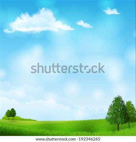 Vector illustration - summer landscape - meadow and trees. EPS 10 - stock vector