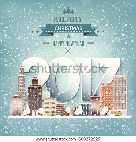 2017. Vector illustration. Winter urban landscape. City with snow. Christmas and new year. Cityscape. Buildings. Holidays in December and January.New year celebration.