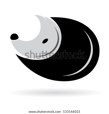 Vector image of an porcupine on white background - stock vector