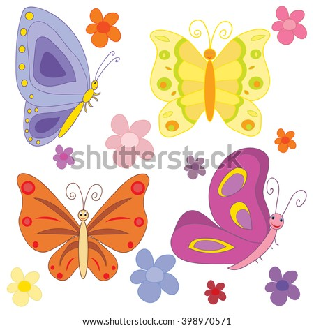 vector isolated butterfly character