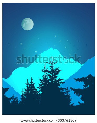 Vector landscape. Silhouette of coniferous trees and snowy rocks on the background of night sky and full moon. Eps 10.