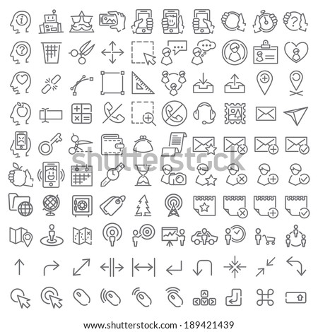 100 vector line icons set for web design and user interface - stock vector