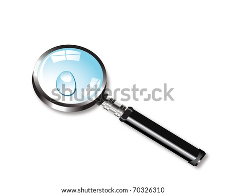 Vector magnifying glass and water drop - stock vector