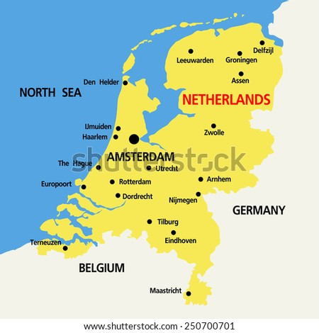 vector map of Netherlands  with high details - stock vector