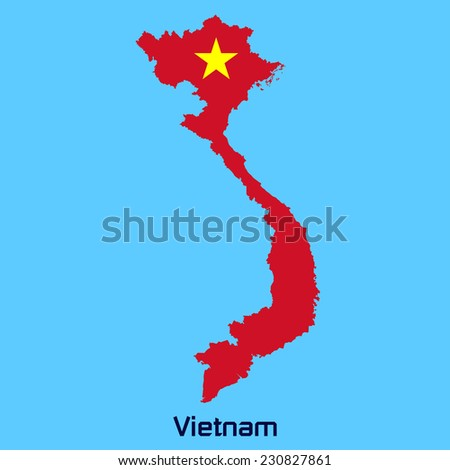 vector map of Vietnam with flag texture - stock vector