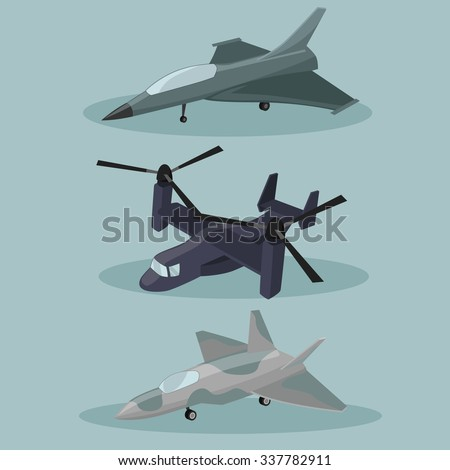 Vector Military different types of Airplanes  image design set for your illustration, postcards, posters, sticker, label and other design need.  - stock vector