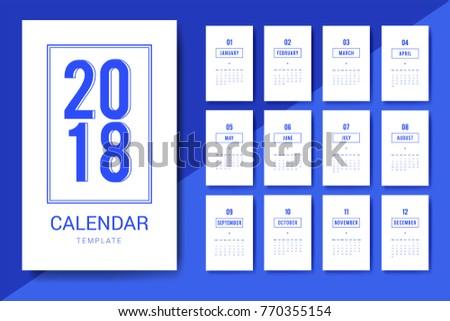 Vector Minimalistic Calendar 2018 Year Calendar Stock Vector