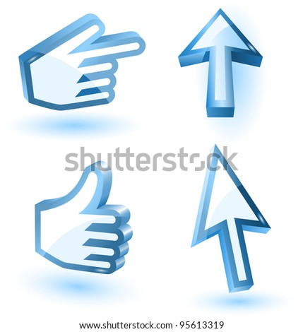 Vector mouse arrow and hand pointers with shadow,3d, - stock vector