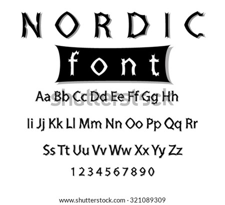Vector nordic font. Collection of alphabet symbols and figures. - stock vector
