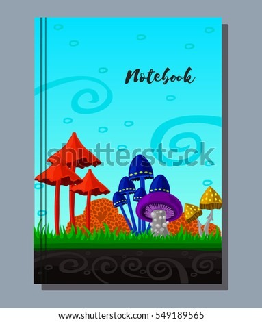 Vector notepad with drawing fairy mushrooms