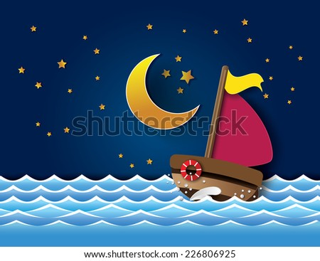 Vector of sailboat at night. paper cut style. - stock vector