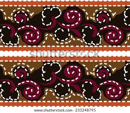 Vector patterns.Abstract background.Indian style on red and brown.