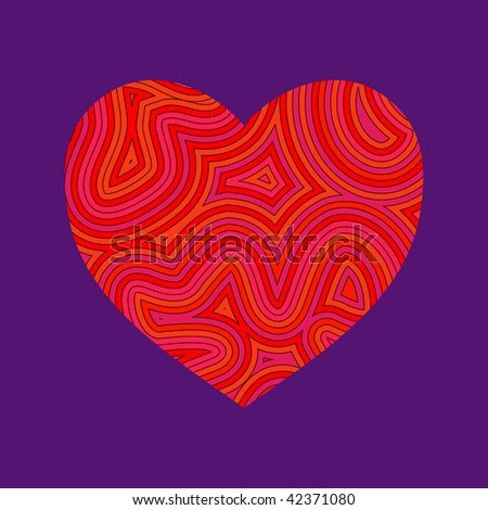 (Vector) Psychedelic heart. Be my Groovy Valentine!! A Jpg version is also available. - stock vector