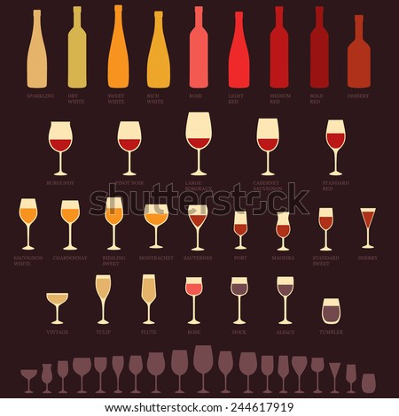 vector red and white wine glasses and bottle types, alcohol, drink isolated icons - stock vector