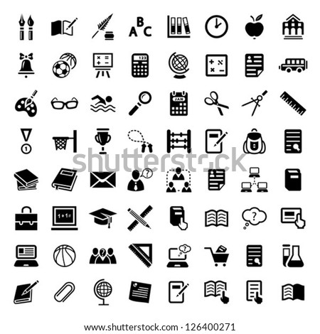64 Vector School And Education Icons Set for web and mobile. All elements are grouped. - stock vector