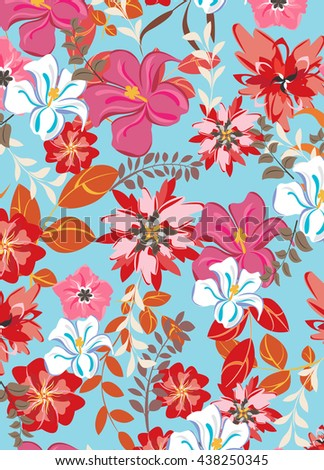 vector seamless pattern flowers