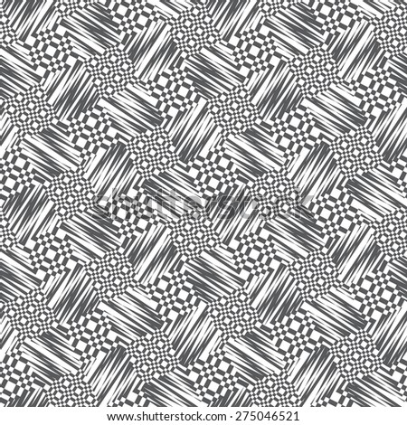 Vector seamless pattern, geometric background Black and white